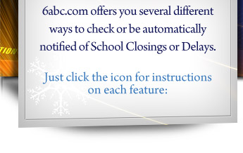6abc.com offers you several different ways to check or be automatically notified of School Closings or Delays. Just click the icon for instructions on each feature: