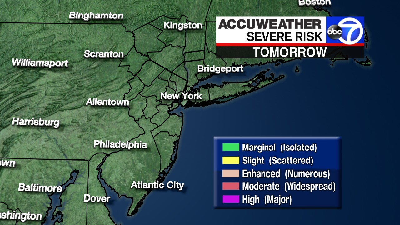 Accuweather Severe Weather Map.Severe Weather Risk Tomorrow Accuweather New York New Jersey